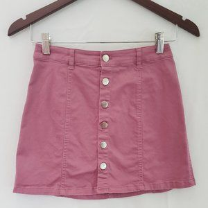 Forever 21 - Button Up Mini Skirt Dusty Rose Sz Sm